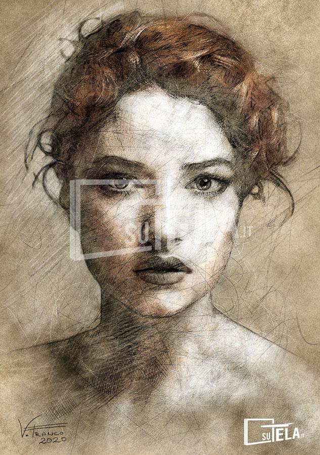 ritratto di donna carboncino e pastelli