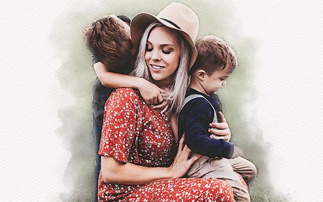 dipinto con bambini e mamma