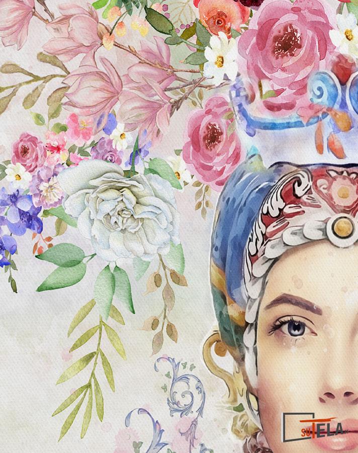 particolare di volto di donna ispirato alla Tradizione Siciliana delle Teste di Moro