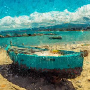 pittura ad olio, barca