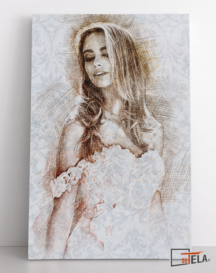 ritratto modella con abito da sposa