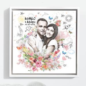 ritratto di coppia con mix di tecniche artistiche