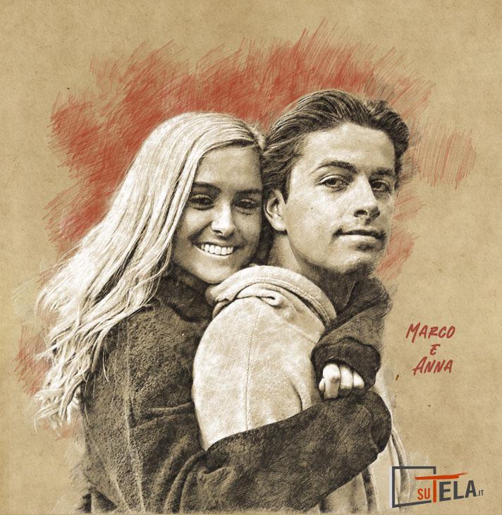ritratto di coppia a matita sfondo rosso