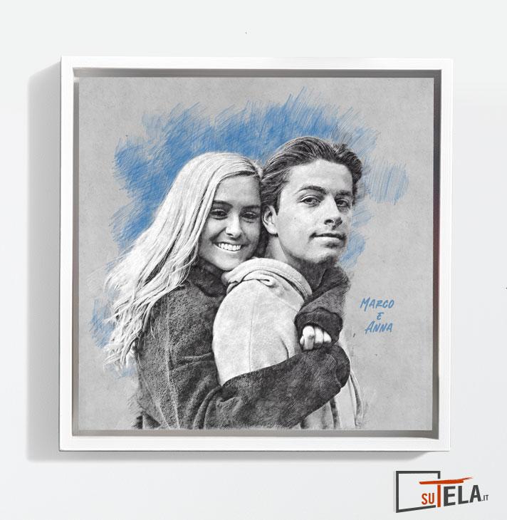 ritratto di coppia con cornice a cassetta bianca