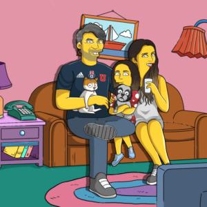 ritratto giallo cartoon famiglia
